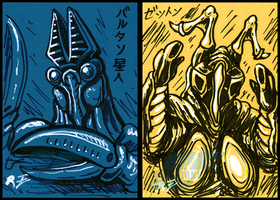 Inktober Stuff 2 - Baltan and Zetton sketch cards by AlmightyRayzilla