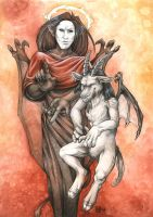 Lucifer and Baphomet by Nimrais