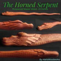 The Horned Serpent Master Wand by airbrusharthart