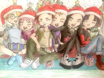 Code Lyoko: happy holidays group celebration  by artdemaurialashawn21