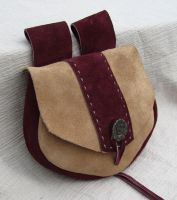 Maroon and Cream Suede Bag by EarthlyLeatherDesign