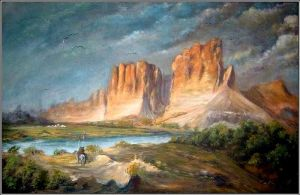 Cliffs of the upper colorado river painting by matiss-art