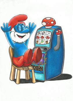 Papa Smurf Plays The Pokie by ShayneMurphy