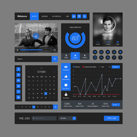 Behance Style Flat Ui Kit Free .PSD by emrah-demirag