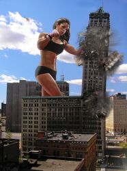 Michelle Lewin uses a skyscraper as a punching bag by The-WonderSlug