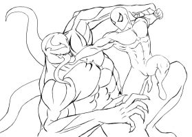 Spiderman vs Venon - sketch by JoseMondesir