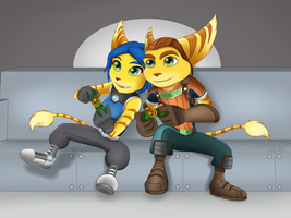 Ratchet and Donna - Game Night by Sofie-Spangenberg