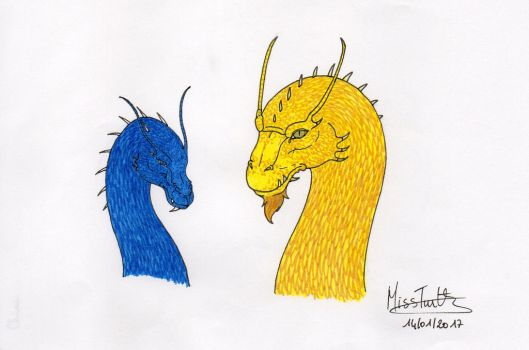 Inheritance cycle dragons - Saphira and Glaedr by TurtleClairou