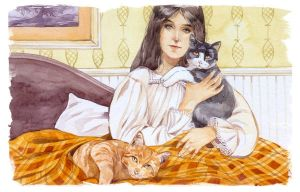 Bess and her cats by Losenko
