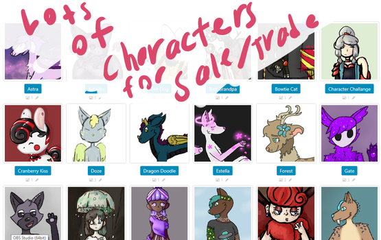 Characters for Sale/Trade MORE ADDED by A-Mutt