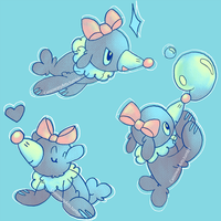 (Stickers + More!) Pastel Popplio Design by CassowaryRoom