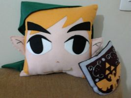 Legend of Zelda LOZ Toon Link with Shield Pillow by RbitencourtUSA