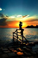 Jaka Silhouette and sunset by xdickyx