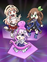 Neptunia Girls And A Different Slime Blob by kashikoma