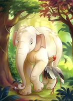 CM - Elephant and crane by Mistrel-Fox