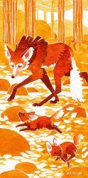 Tiny Inklings - Maned wolf autumn by Gnulia