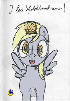 Derpy in ''I has Sketchbook now!'' (coloured) by MoonFlowerSax