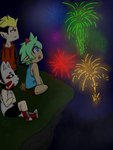 Fireworks on a cliff by AntiLucky