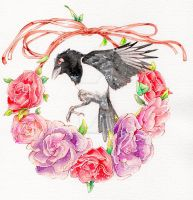 Magpie and roses by DasFarbspiel