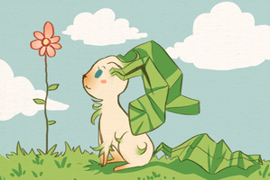 Leafeon Starring at a Flower by Pace-Eterna