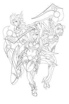 RGB Girls LINEART by DigiAvalon