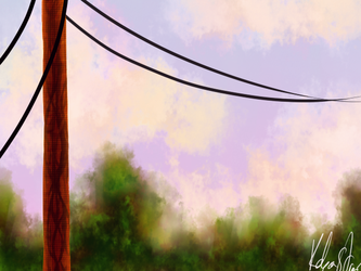 Power Pole at Sunset by Chaos--Flame
