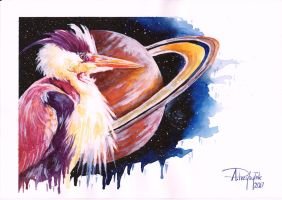 Heron and Saturn by AnnaP-Artwork