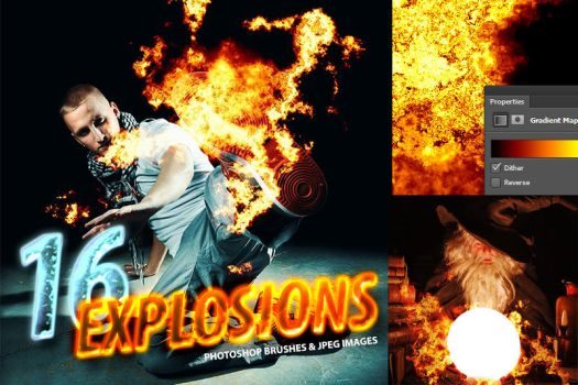 16 Photorealistic Explosion Brushes by pstutorialsws