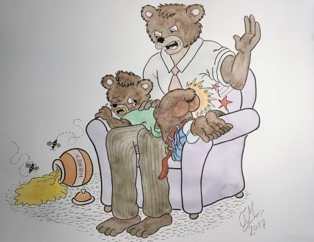 Daddy Bear spanking his naughty son by Drawing-Count
