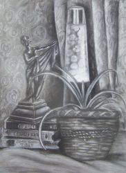 Lava Lamp Still Life in Charcoal by plasmahermit