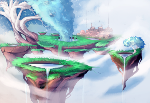 Floating island of magical goodness by Drawnen