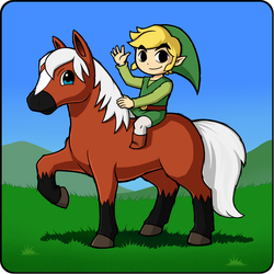 COLLAB - Toon Link on horseback by IndigoWildcat