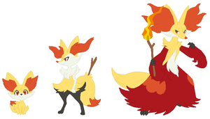 Fennekin, Braixen and Delphox Base by SelenaEde