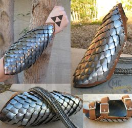 Steel Scale Bracer by Custom-Metal-collars