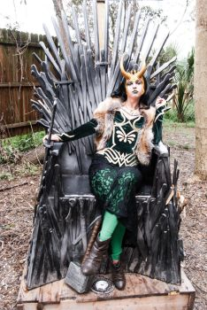 Lady Loki on the Iron Throne by deimosmasque