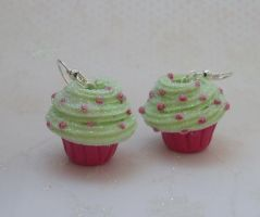 Glitter cupcake earrings by PORGEcreations