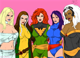 X-Women Emma Frost Rogue Jean Grey Psylocke Storm by marvelboy1974
