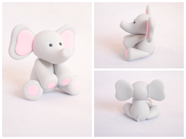 Baby Pink Elephant Sculpture by TheLinnypig