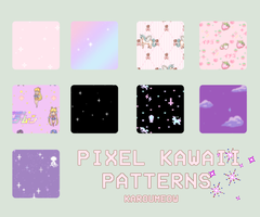 PIXEL KAWAII PATTERNS by KarouMeow