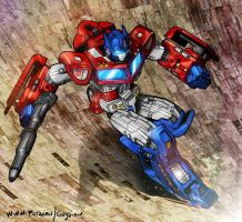 Optimus Prime descending Unicron's jaws by danbrenus