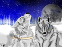 gift for my friend redwolf923: SnowDancer and Moon by AgentWhiteHawk