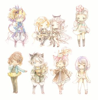 Watercolor Chibi Dump by Nyanfood