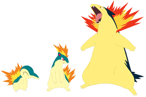 Cyndaquil, Quilava and Typhlosion Base by SelenaEde