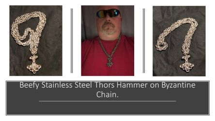 Beefy Thors hammer and chain by graywolfsmaille