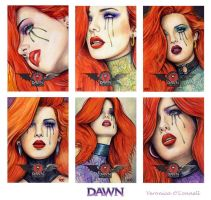 DAWN 20th Ann. Sketch Cards 1 by veripwolf