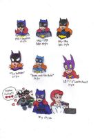 Different Styles of Batgirl by KessieLou