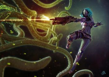 Cyborg Girl vs Space Octopus by BBarends