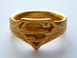 Gold-Plated Steel Superman Ring by JeremyMallin