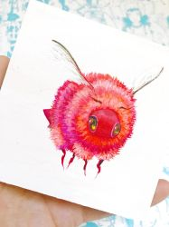 Mini Bee Painting for July Patreon Reward Winner by camilladerrico