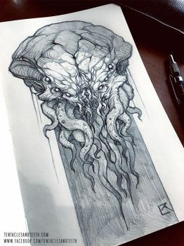 Cthulhu Drawing by TentaclesandTeeth